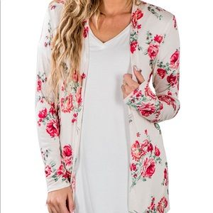 Gorgeous Relaxed Jersey Knit Floral Cardigan